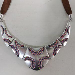Collar Tantrend corto metal cuero hilo de algodón, XaQuXulo