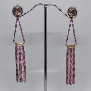 Pendiente Tantrend largo metal cristal rosa. XaQueXulo